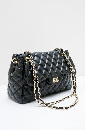 Yaffa Octarina Quilted Shoulder Bag Black 92496d6558