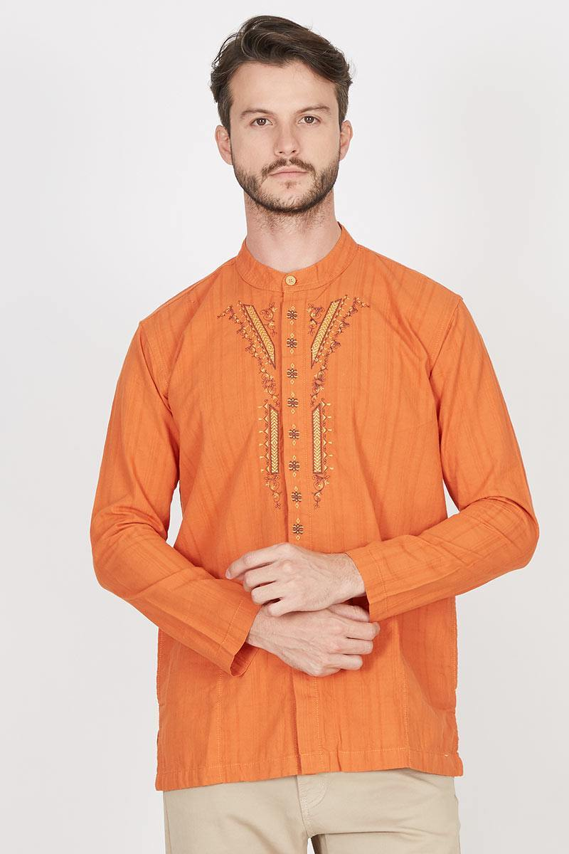 Carvil Adam Atr Baju Koko Pria Terakota Daftar Harga Terlengkap A7836 Kemeja Batik Slimfit Sell
