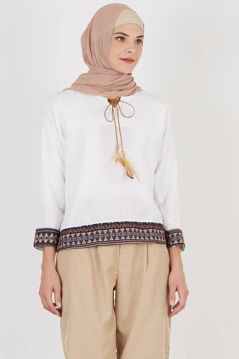 Blouse Kombinasi Songket Sell Bottom White Tops