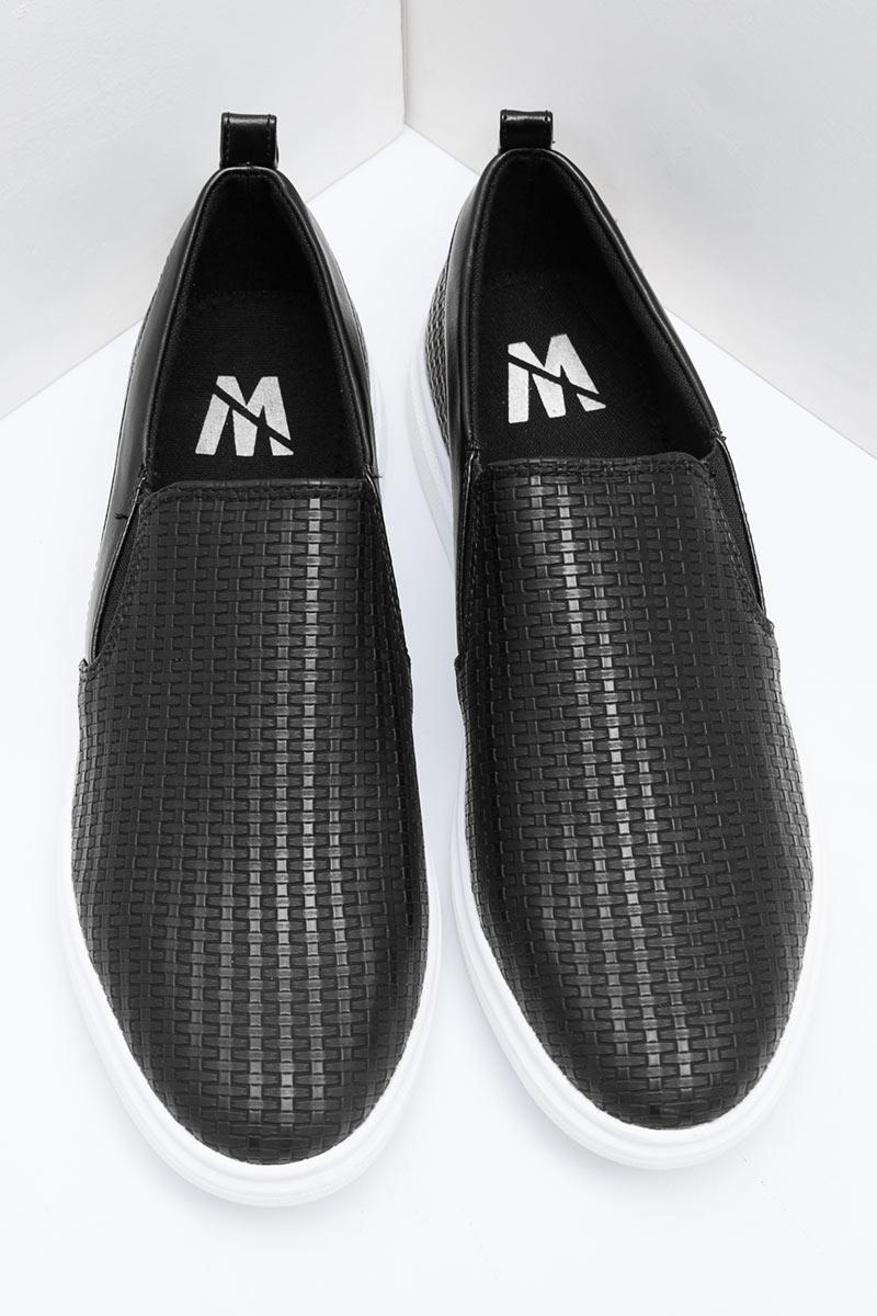 af2b3f3b46 Sell Men Emboss Weave Slip-On 708 Black Loafers