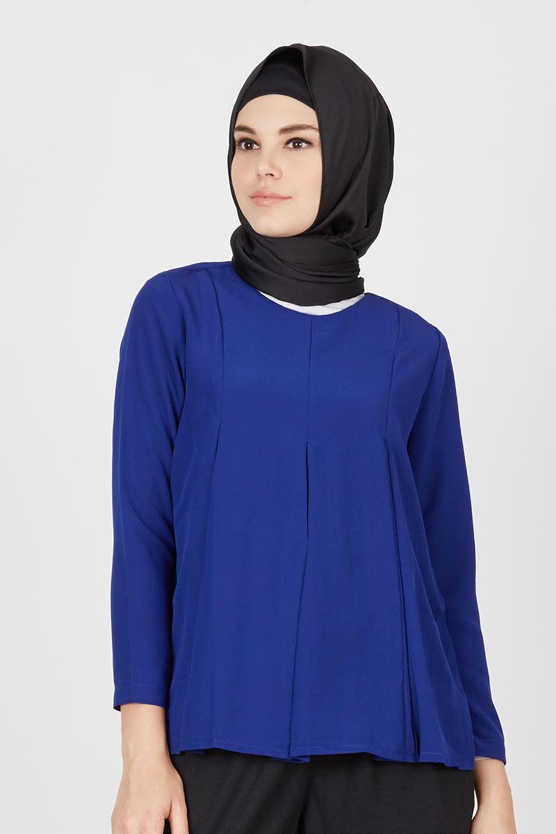 Estella Blue Pleated Top