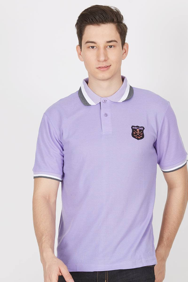 CL Colour Line Collar Polo Shirt in Purple