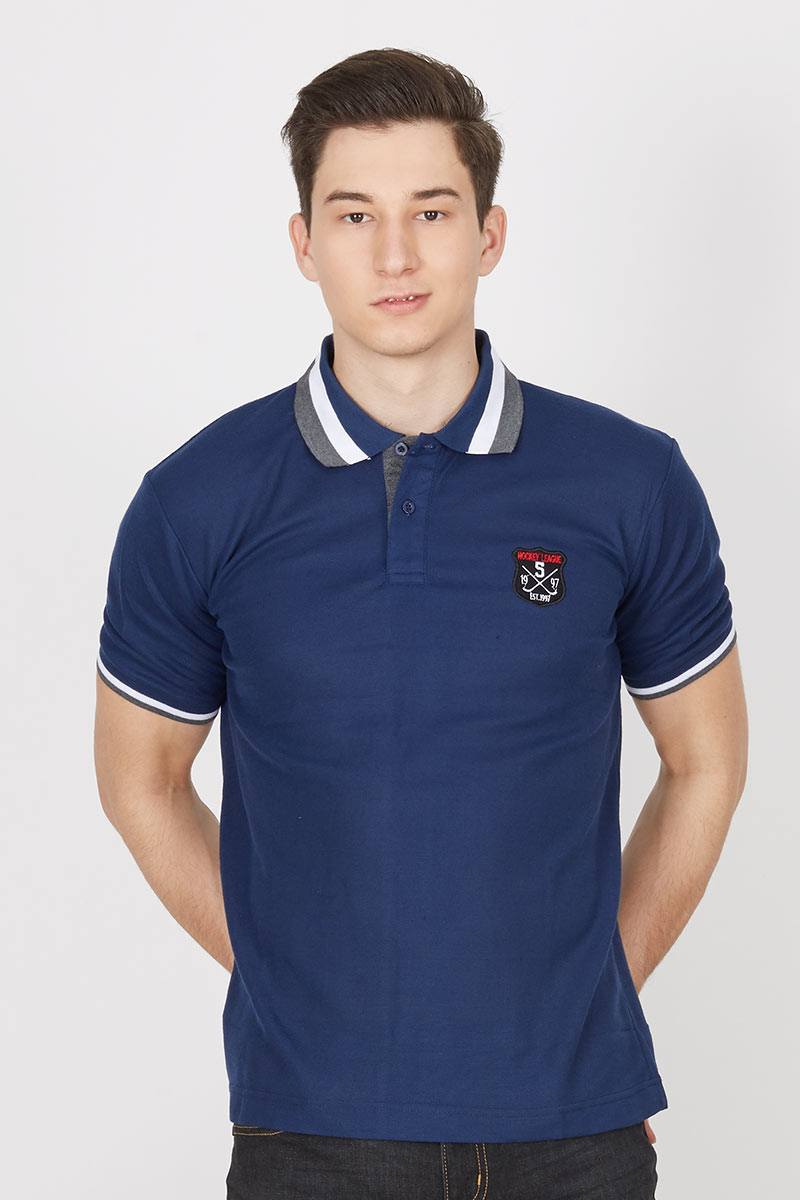 CL Colour Line Collar Polo Shirt in Navy