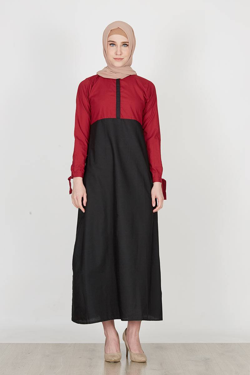 Sell KayNay dress two tone tali katun Maroon - Black