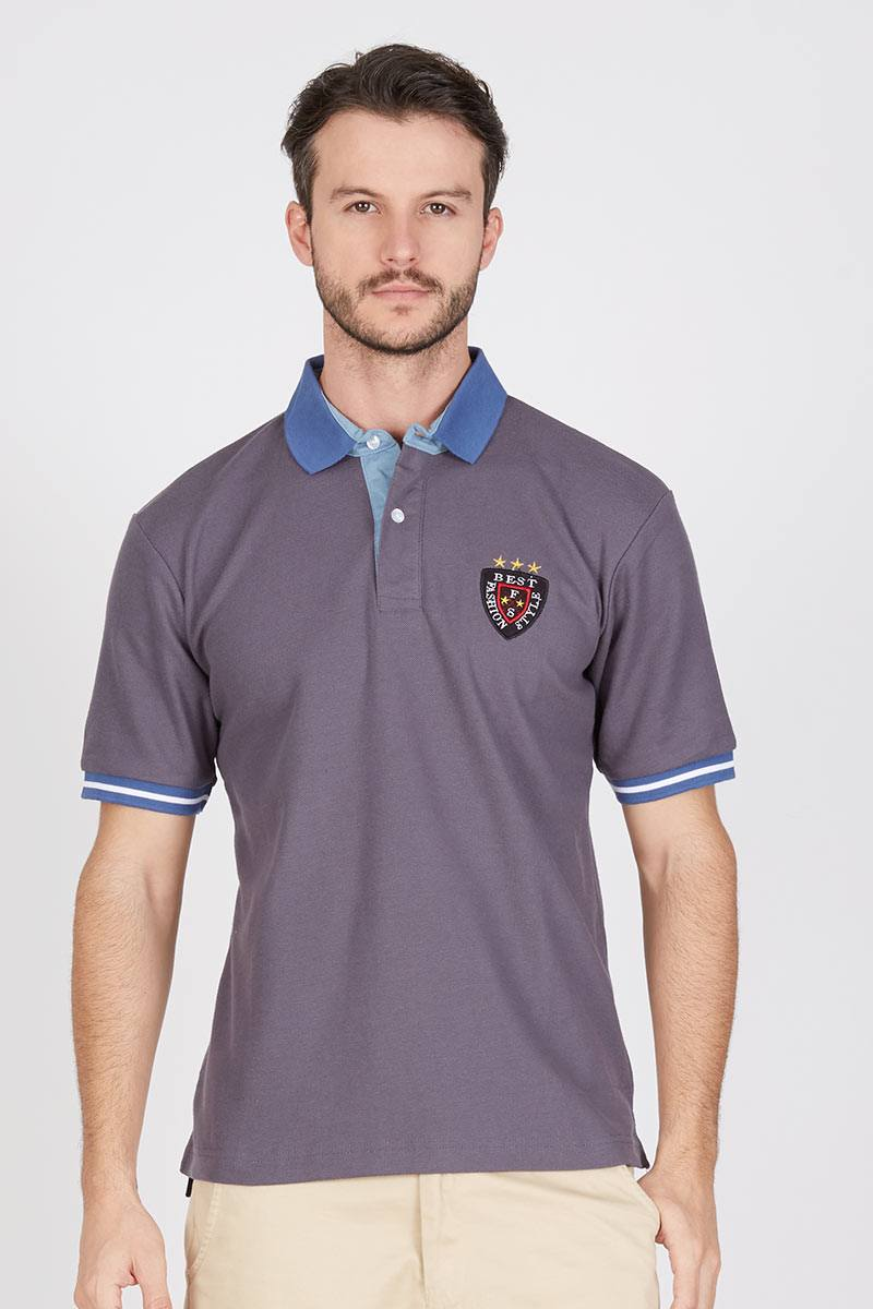 Men Orlan Polo Shirt in Dark Grey