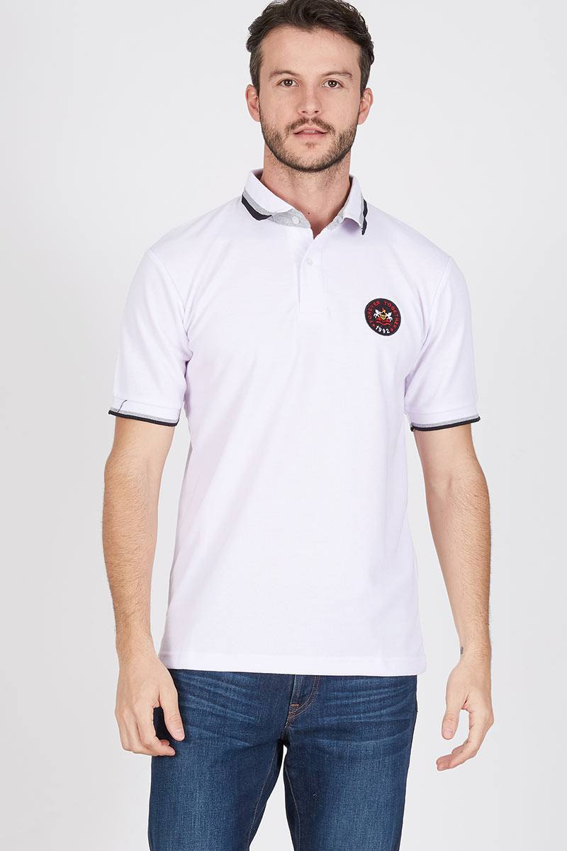 Men Mono Polo Shirt in White