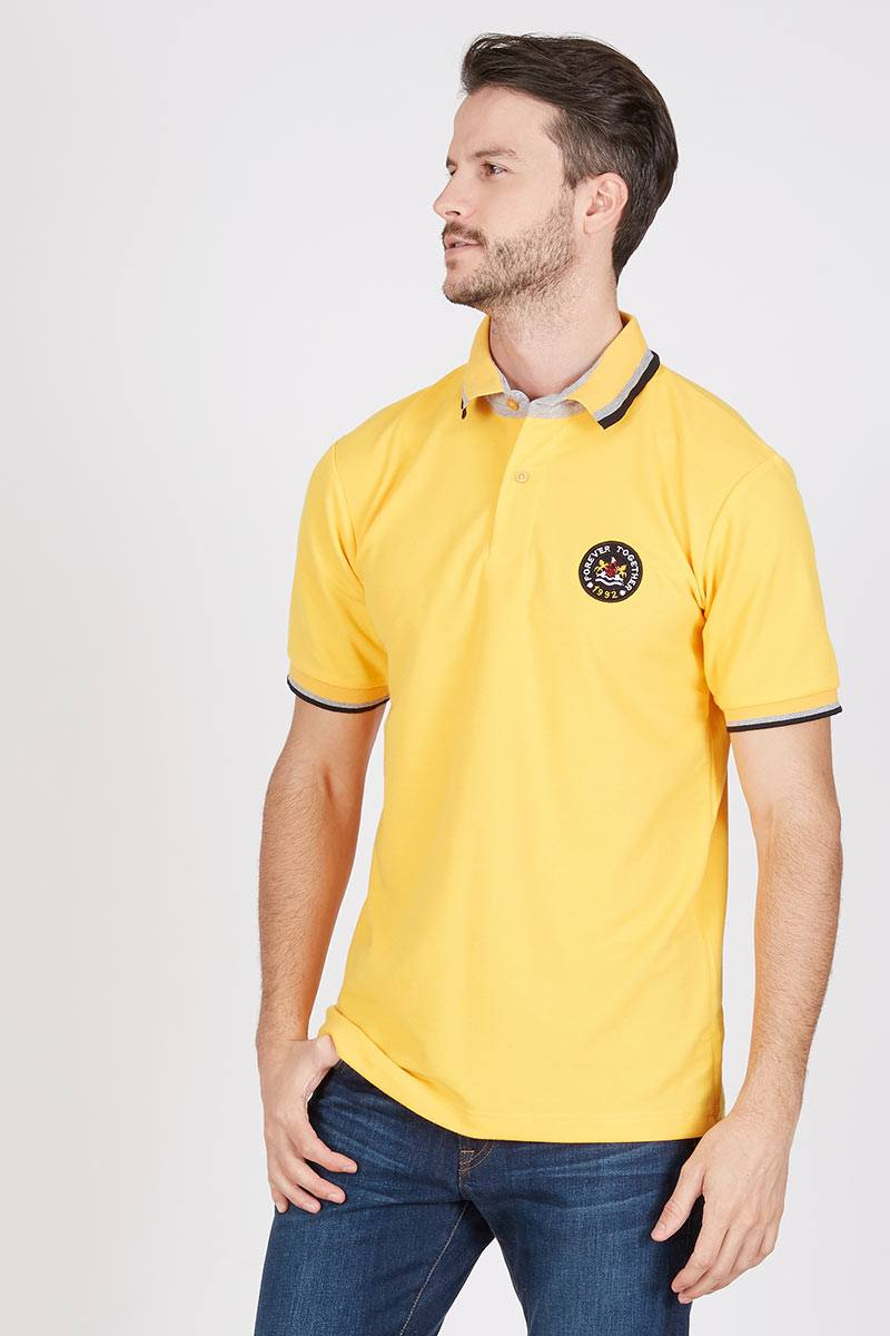 Men Mono Polo Shirt in Yellow
