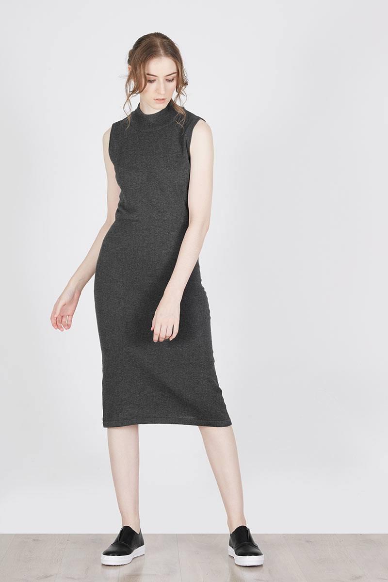 Sell Hensell Dark Grey Knit Dress Casual En Ji By Palomino Herne Handbag Black