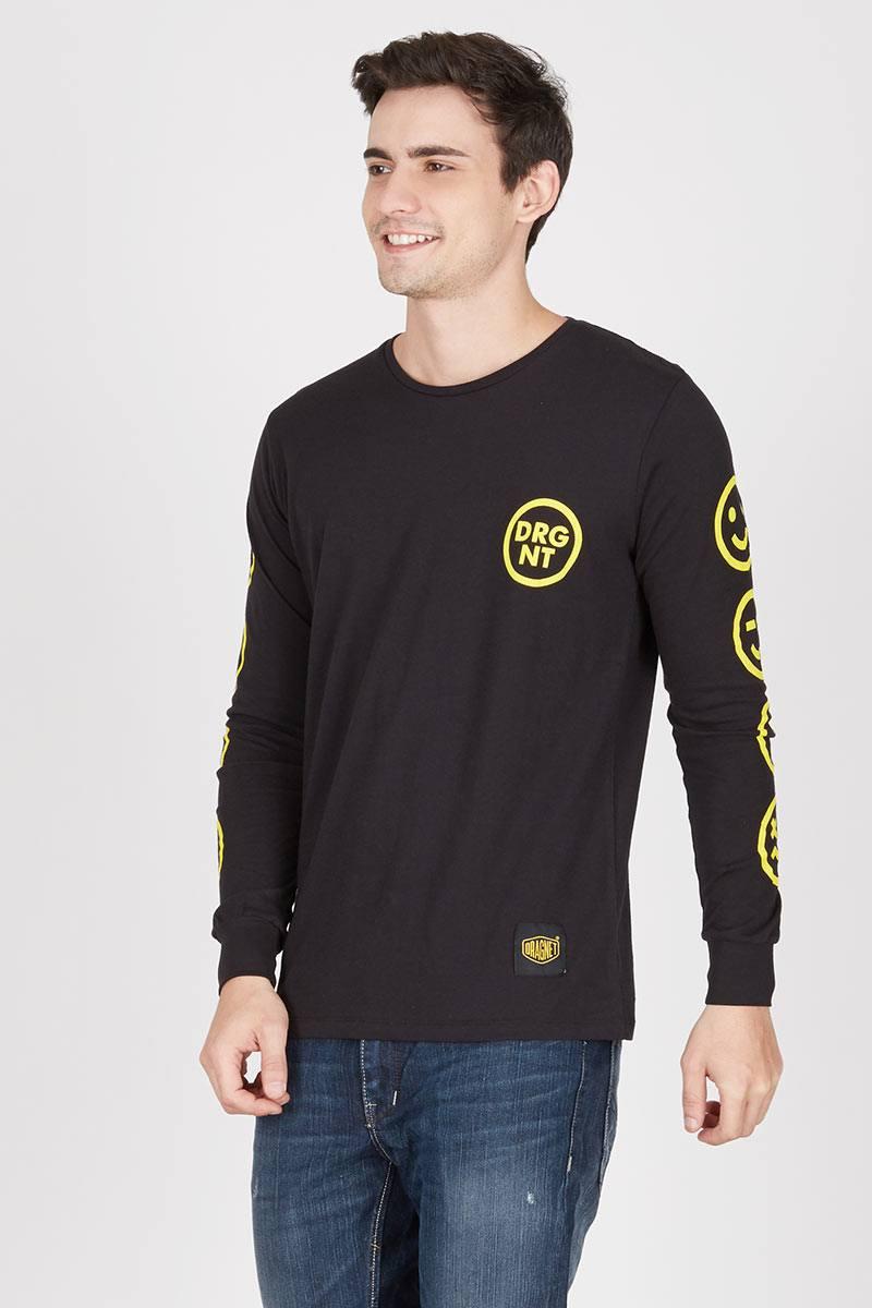 Men Smiley Tshirt Black
