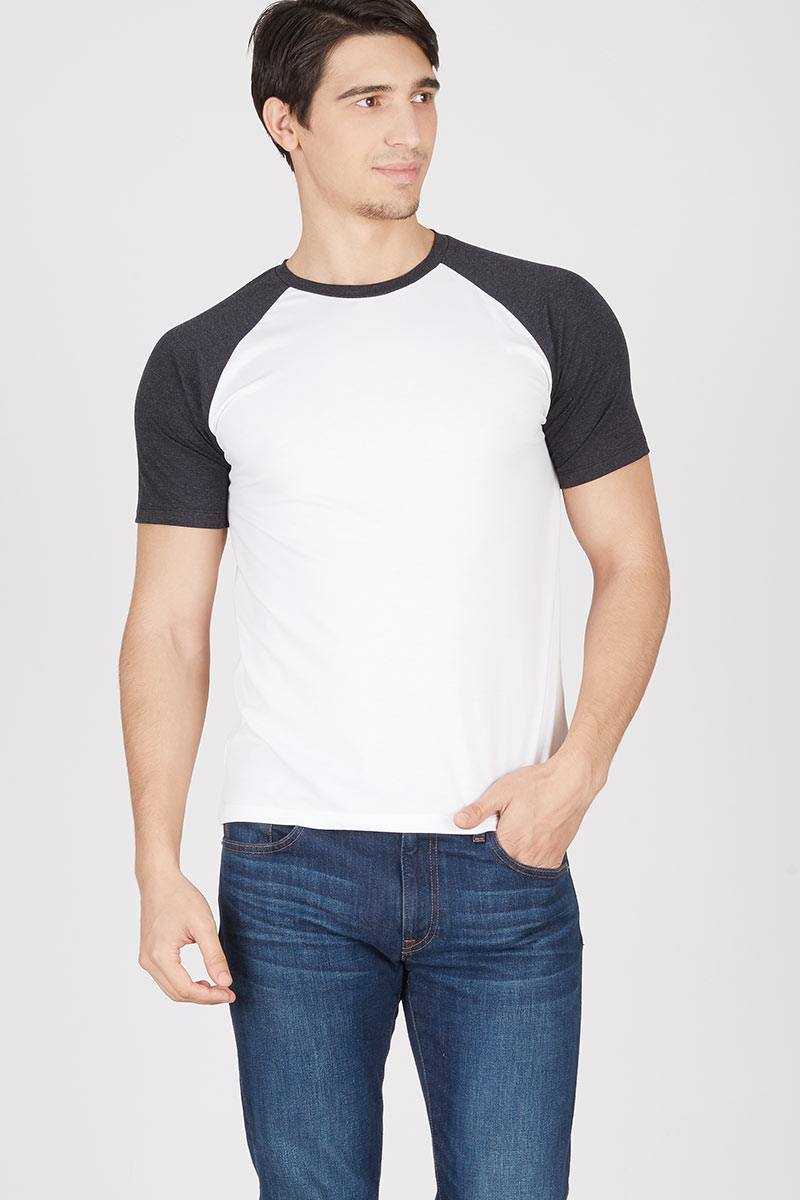 Men Short Sleeve Raglan White-Black