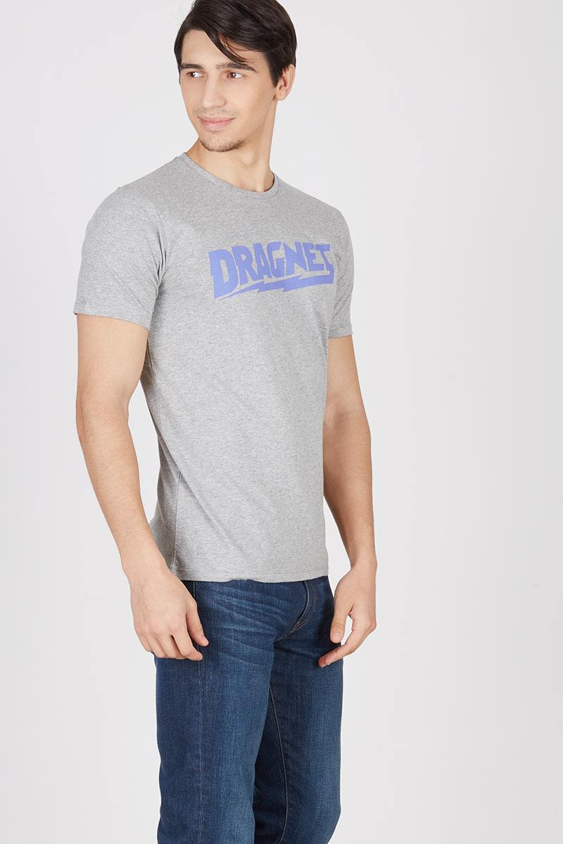 Men Dragnet division Sport logo T-shirt Grey