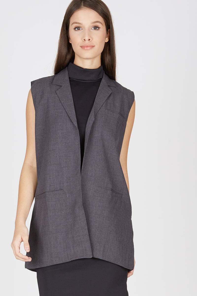 Harga Henrietta Sleeveless Blazer Gray Produk Ukm Bumn Jaket Catenzo Fleece