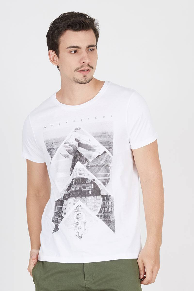 Mens text printed tee 211121612