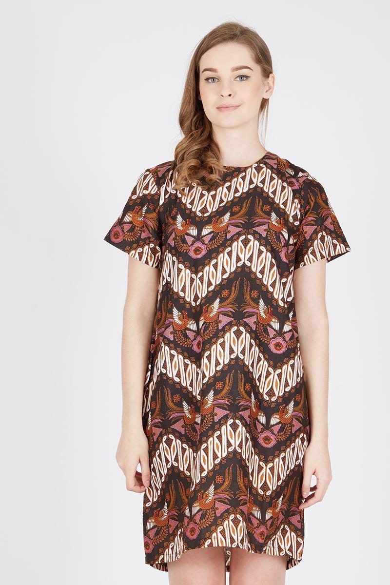 Harga Hem Pendek Remek Parang Gemuk Batik Aksen Tropis Kraton Plum Dress