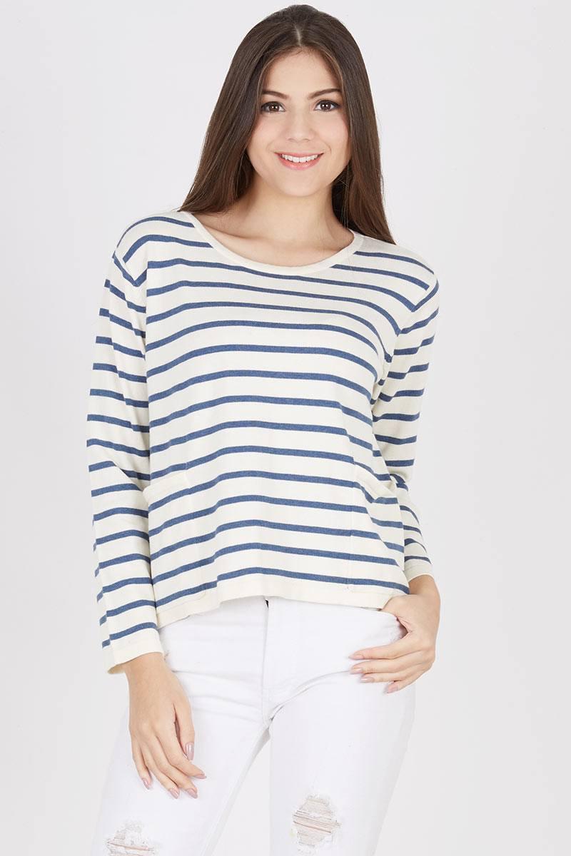 Harga Takayama Stripe Sweater Misty Blue Long Maroon Parka Sj0013