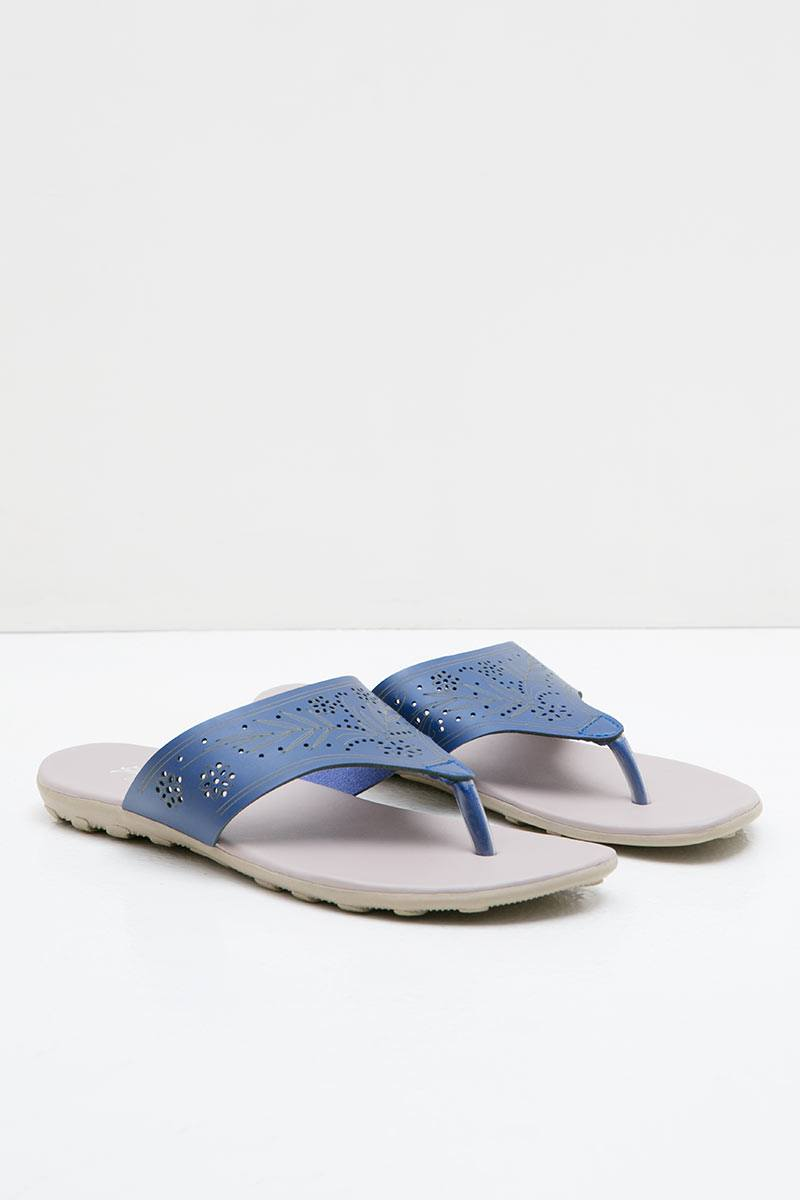 Women Leather 27336 Wedges Sandals Blue