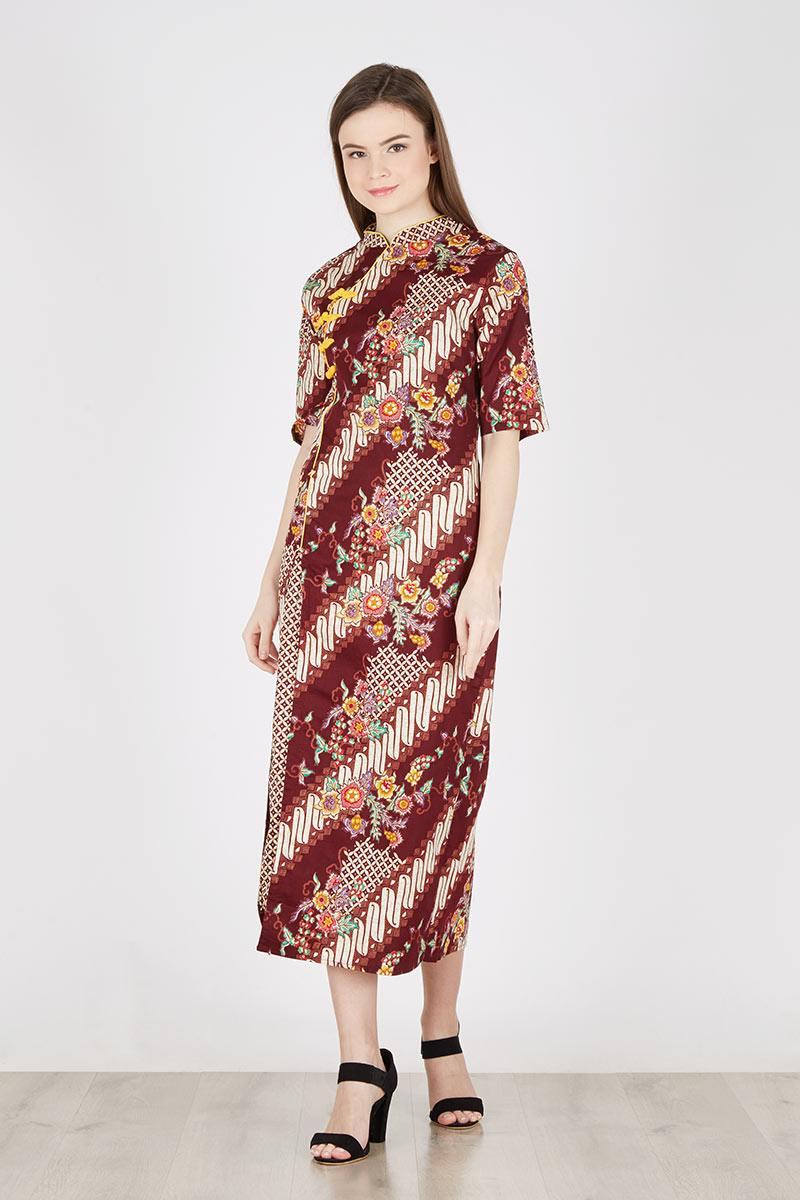 Harga Long Dress Batik In Red Choco Kulot Midi Nda Fjn822b