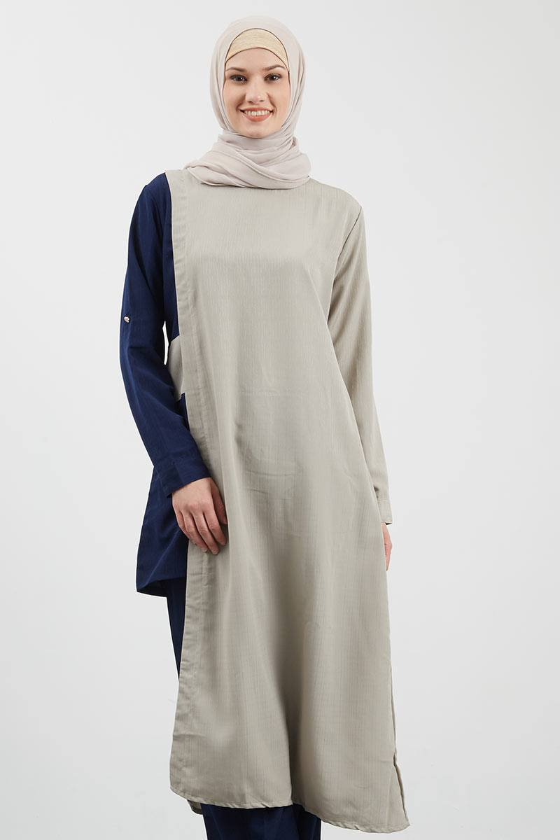 Assymetric Two Tone Tunic Grey