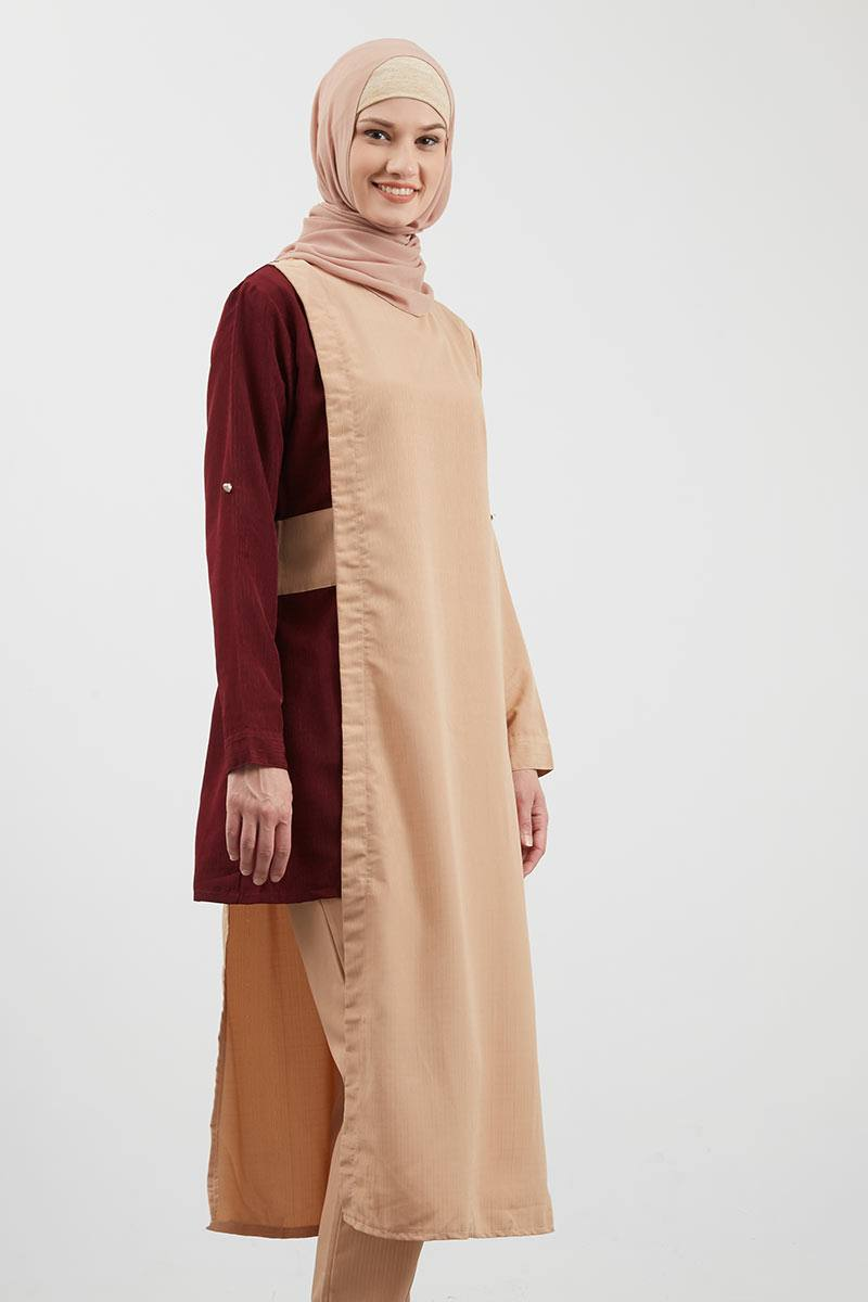 Assymetric Two Tone Tunic Light Brown