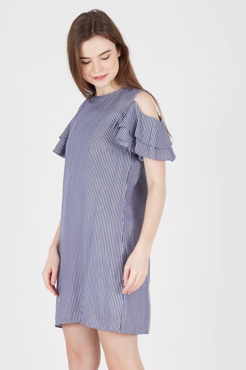 Yoorafashion Gaun Casual Wanita Elle Collar Dress El20378b02c Hitam Mussie Stripe In Navy