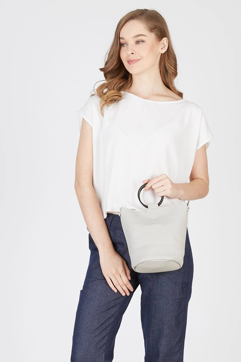 178993 mini bucket handbag in grey grey b44hk