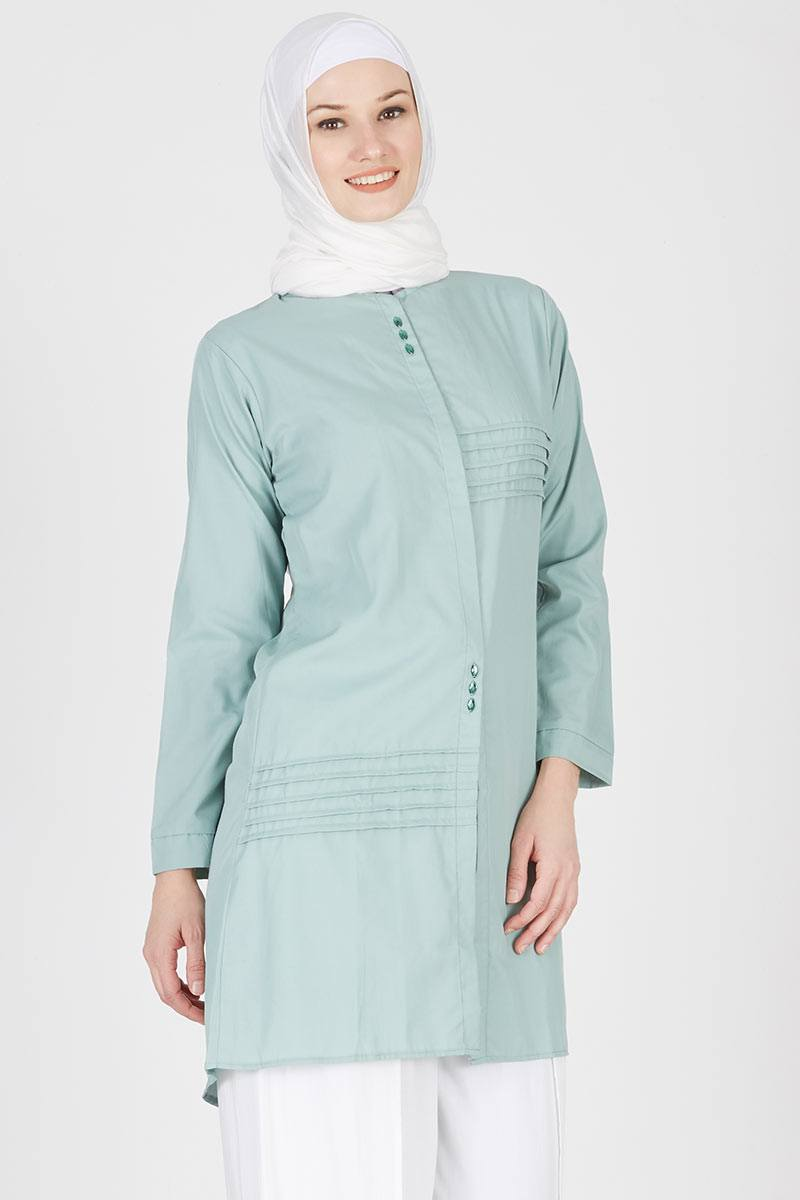 Tunik Strip Batu Tetes Dark Mint