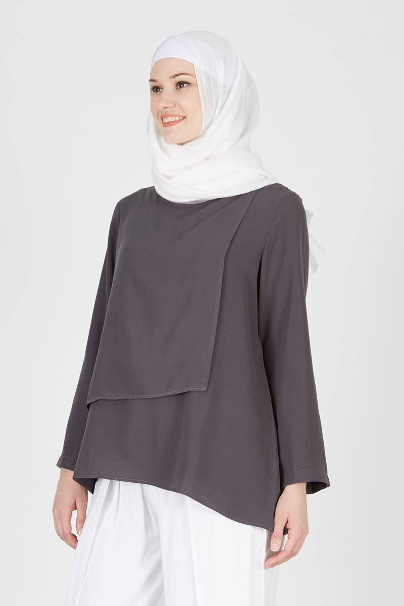 Gemma Top Plain Dark Grey