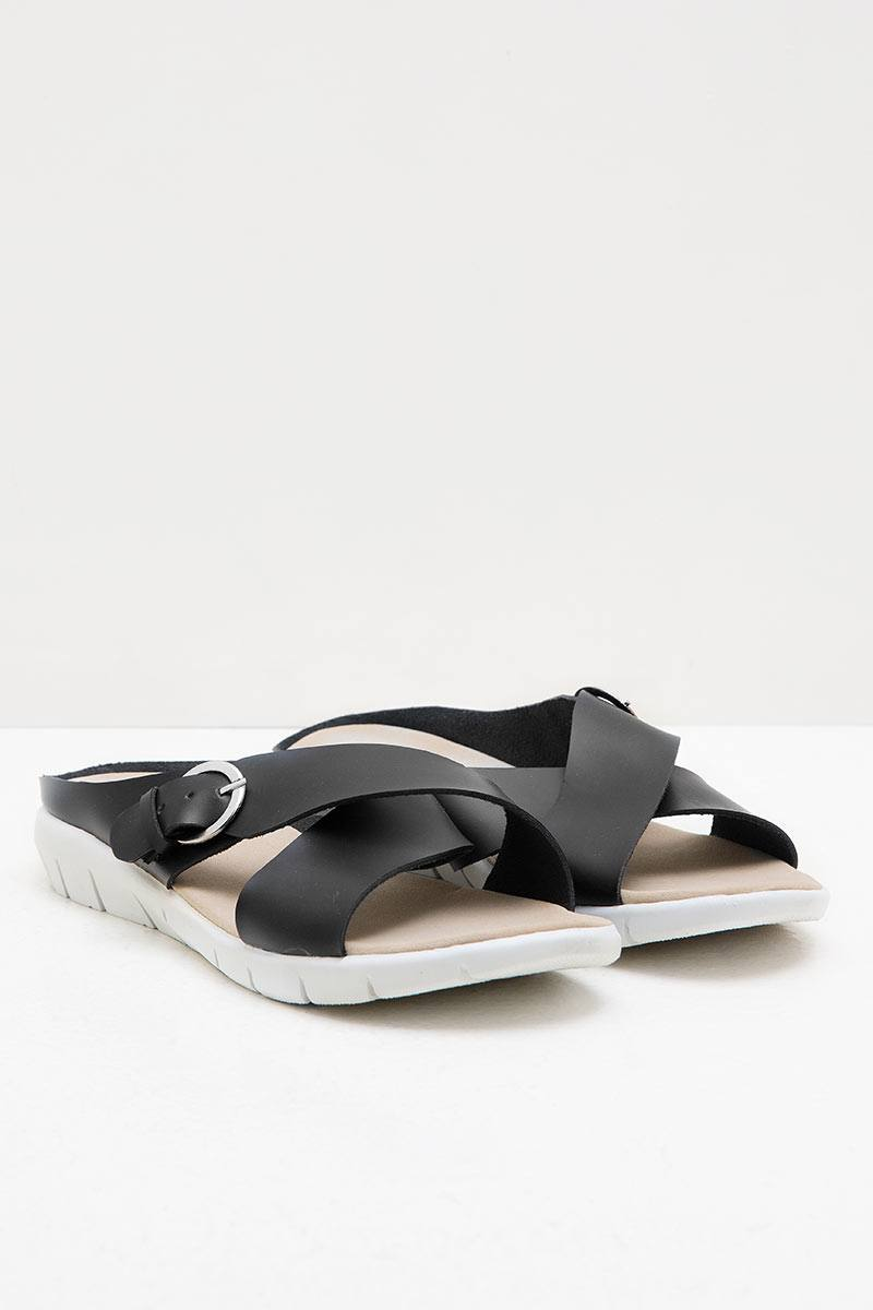 Womens Leather 27350 Flat Sandals Black