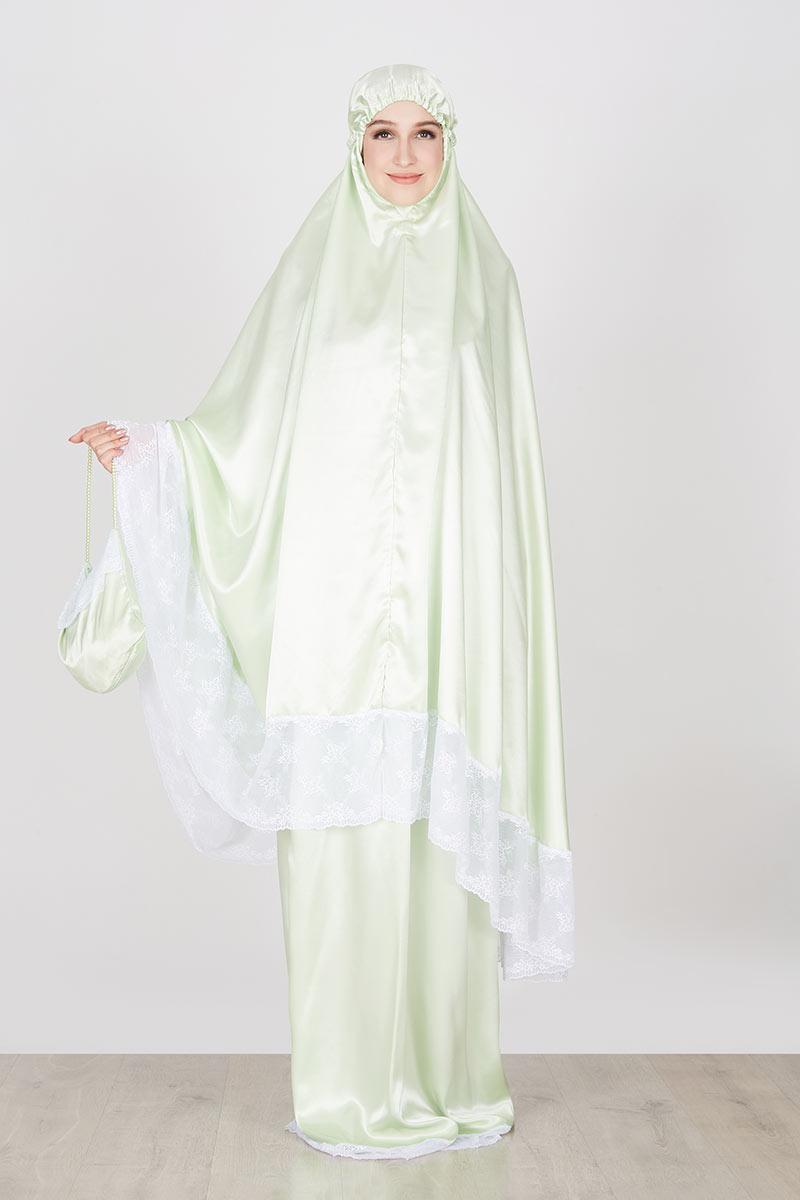 Harga Mukena Khadeejah Maryam Baby Green With White Lace Spandek