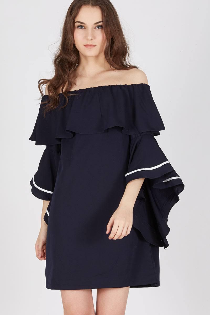 Harga Paramore Frill Dress Navy