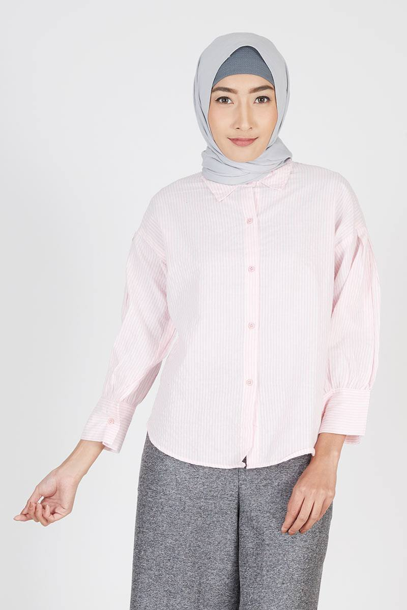 Stripe Shirt Cotton Pink