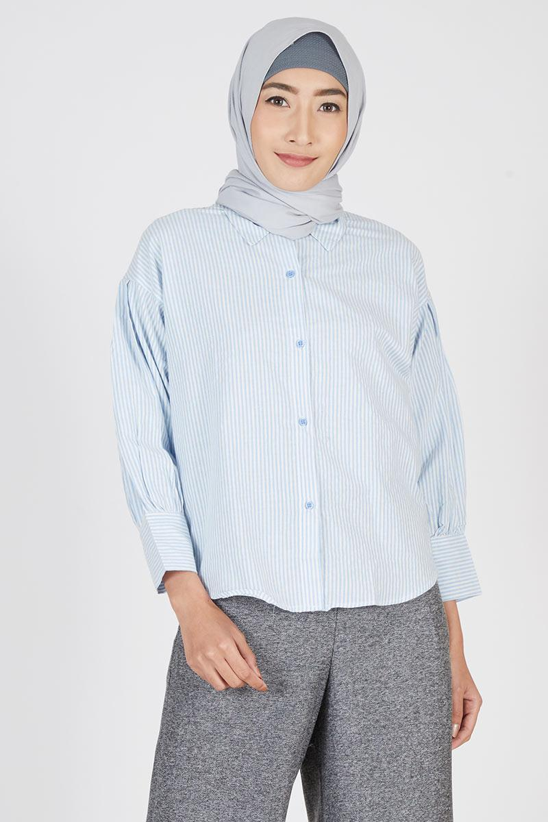 Stripe Shirt Cotton Blue