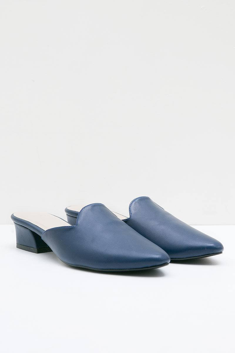 Zoe Mules in Navy Blue