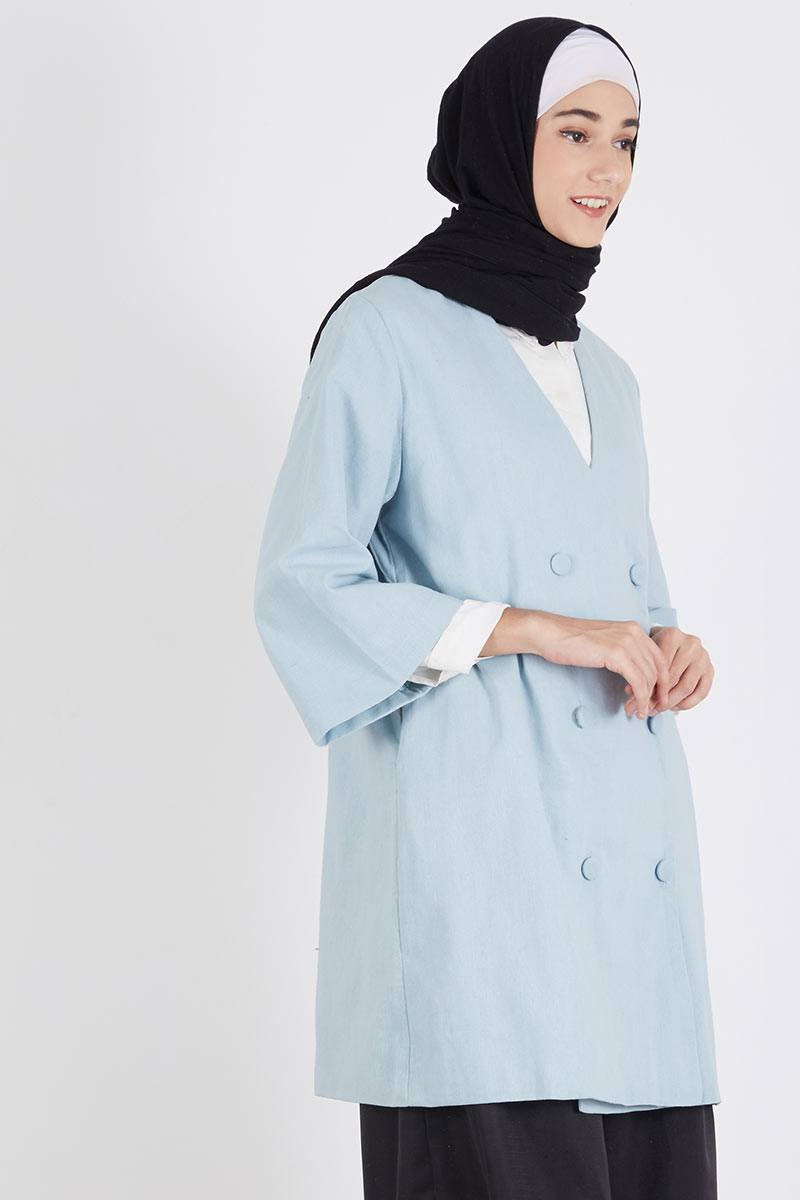 Harga Cano Blazer Cardigan Jaket Luaran Pakaian Wanita Jk431 Putih Asymmetric Kardigan Kimono Jk435 Tila Blue