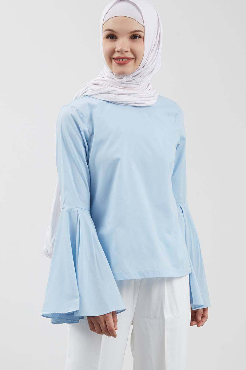 Rufina Flare Sleeve Top Blue