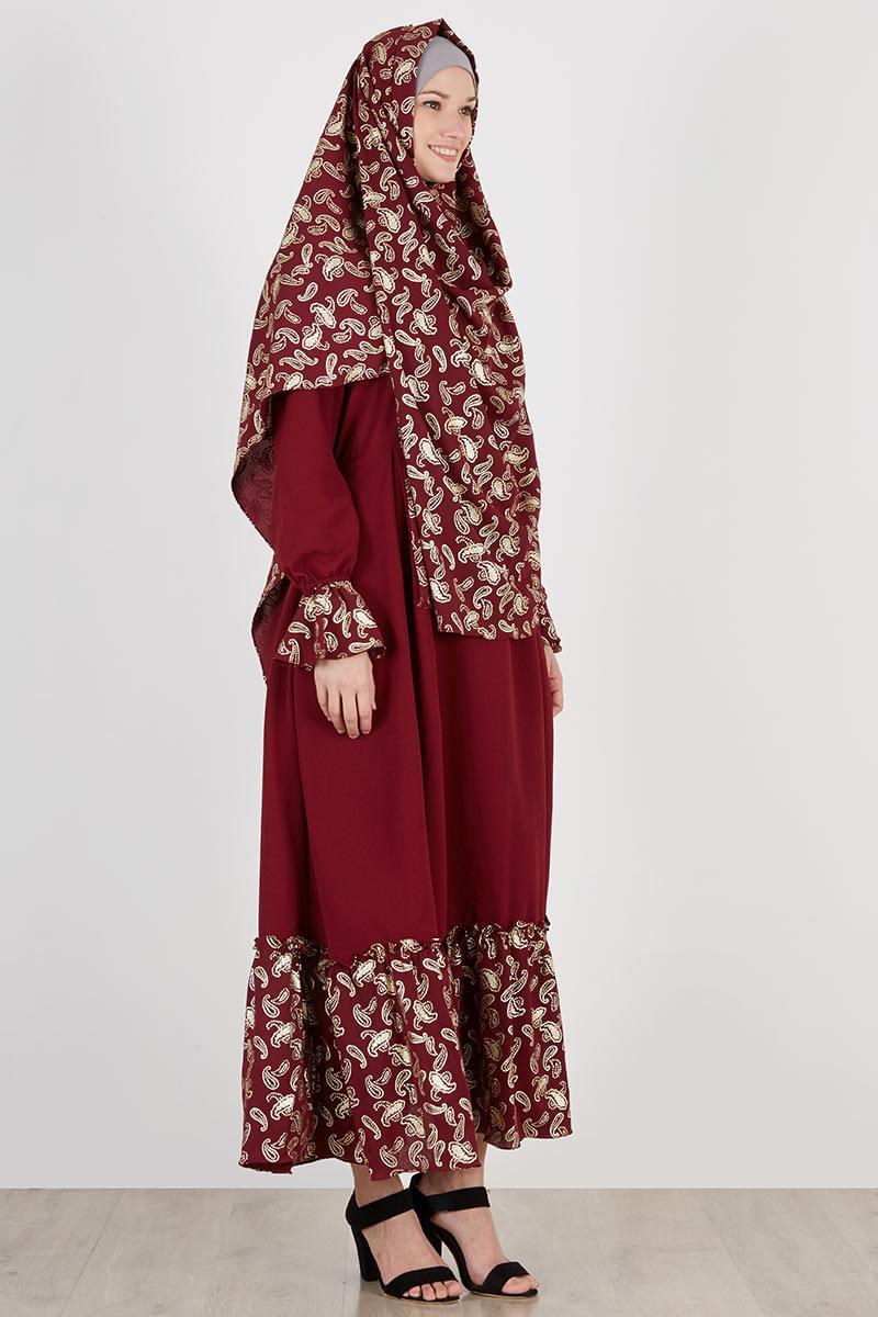 Sell Set Gamis Jilbab Athifa Free Niqab Maroon Dresses