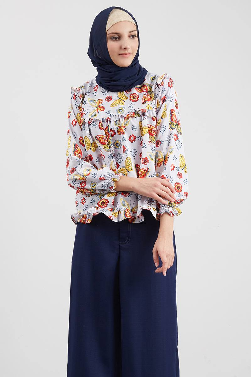 Buttie Print Blouse Light Purple