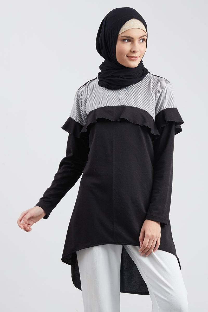 Adilah Tunic Off Shoulder Black