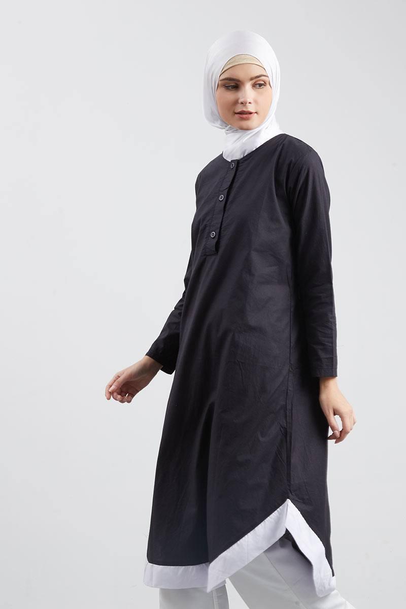Lathifah Long Tunic Black