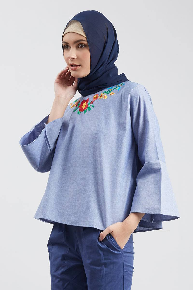 Cotton Bell Sleeve Embro Blouse Dark Blue