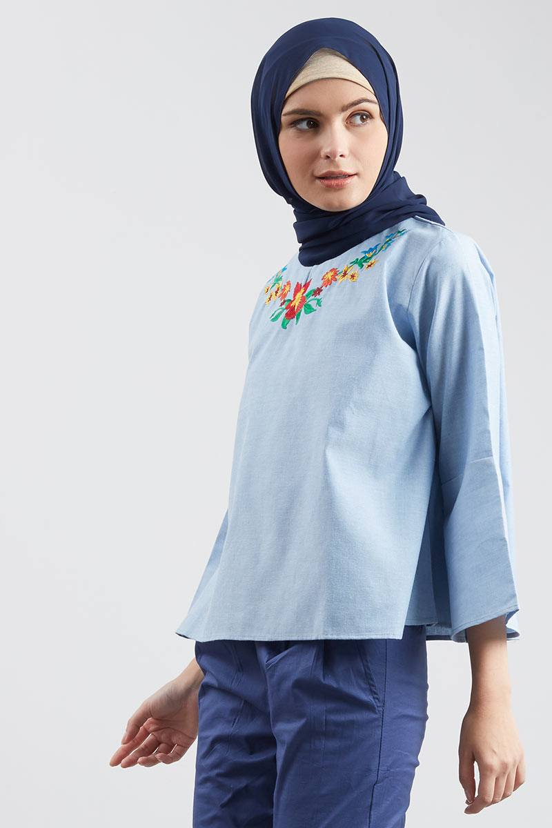 Cotton Bell Sleeve Embro Blouse Light Blue
