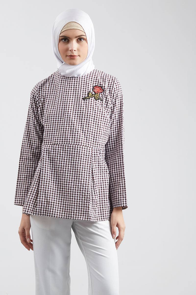 Basic Floral Blouse Brown