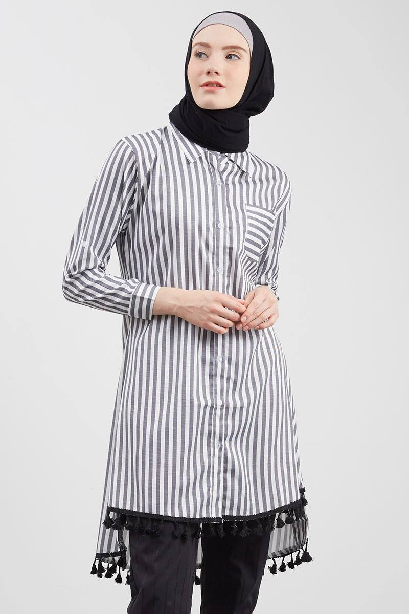 Floral Variation Stripe Tunic Blue Grey
