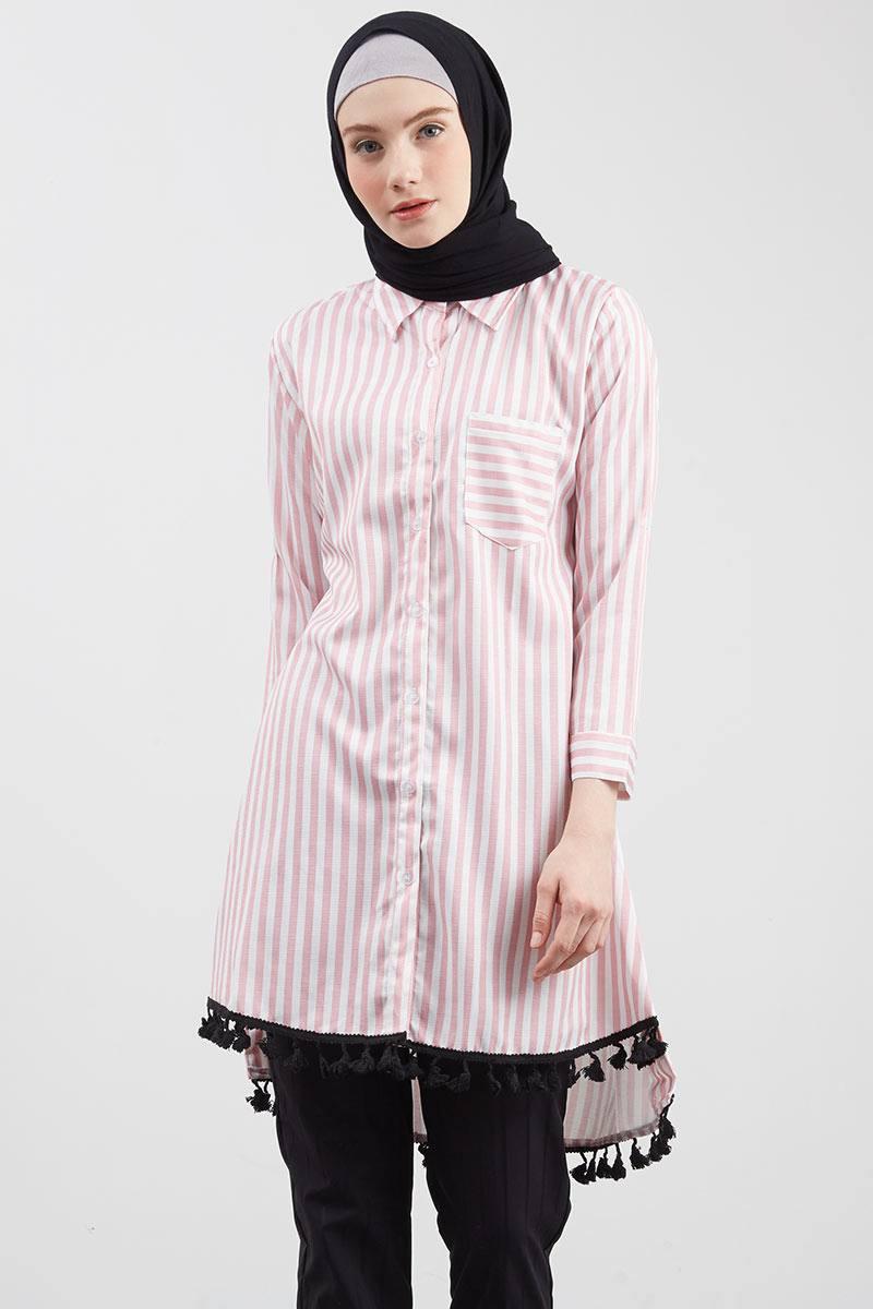 Floral Variation Stripe Tunic Pink Pink