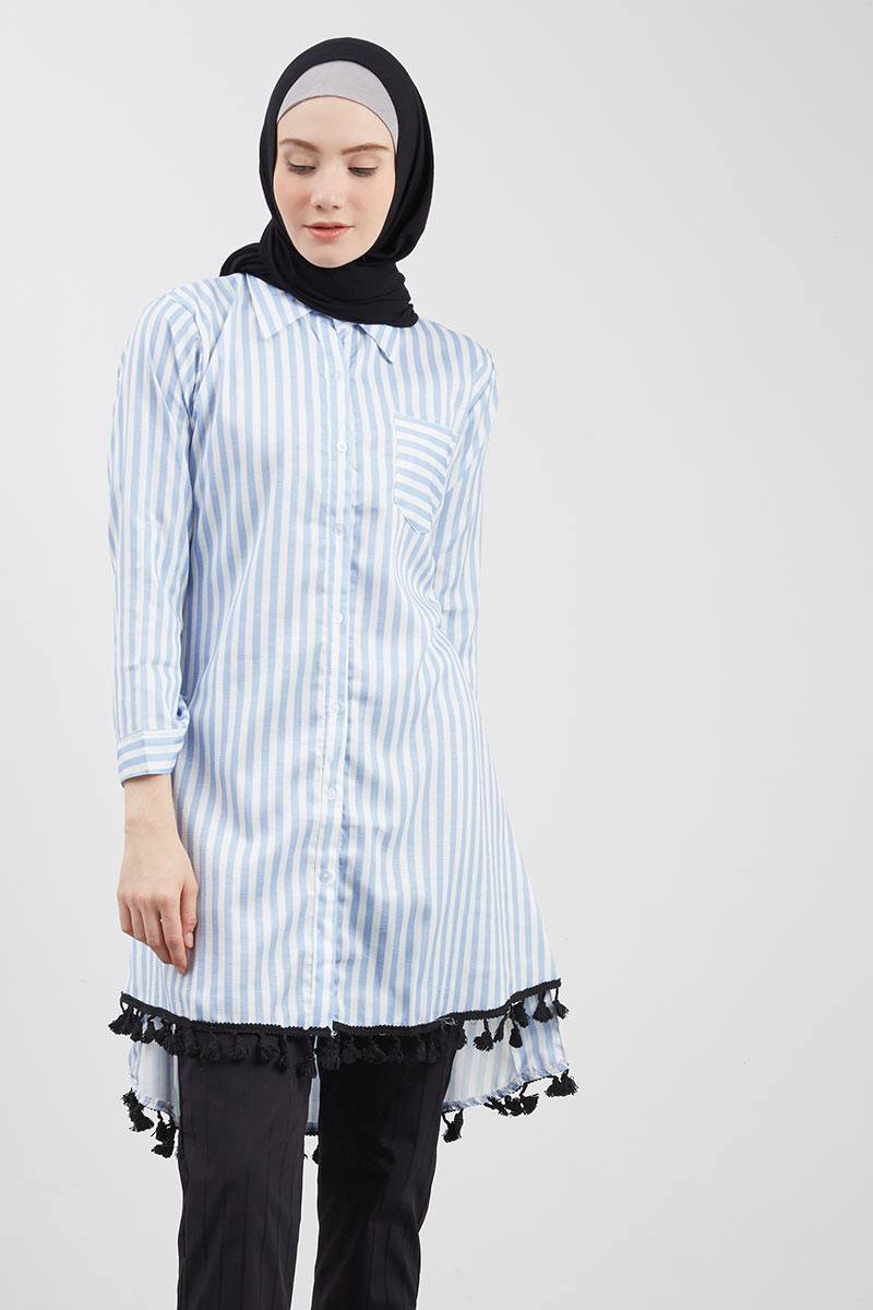 Floral Variation Stripe Tunic Grey Blue