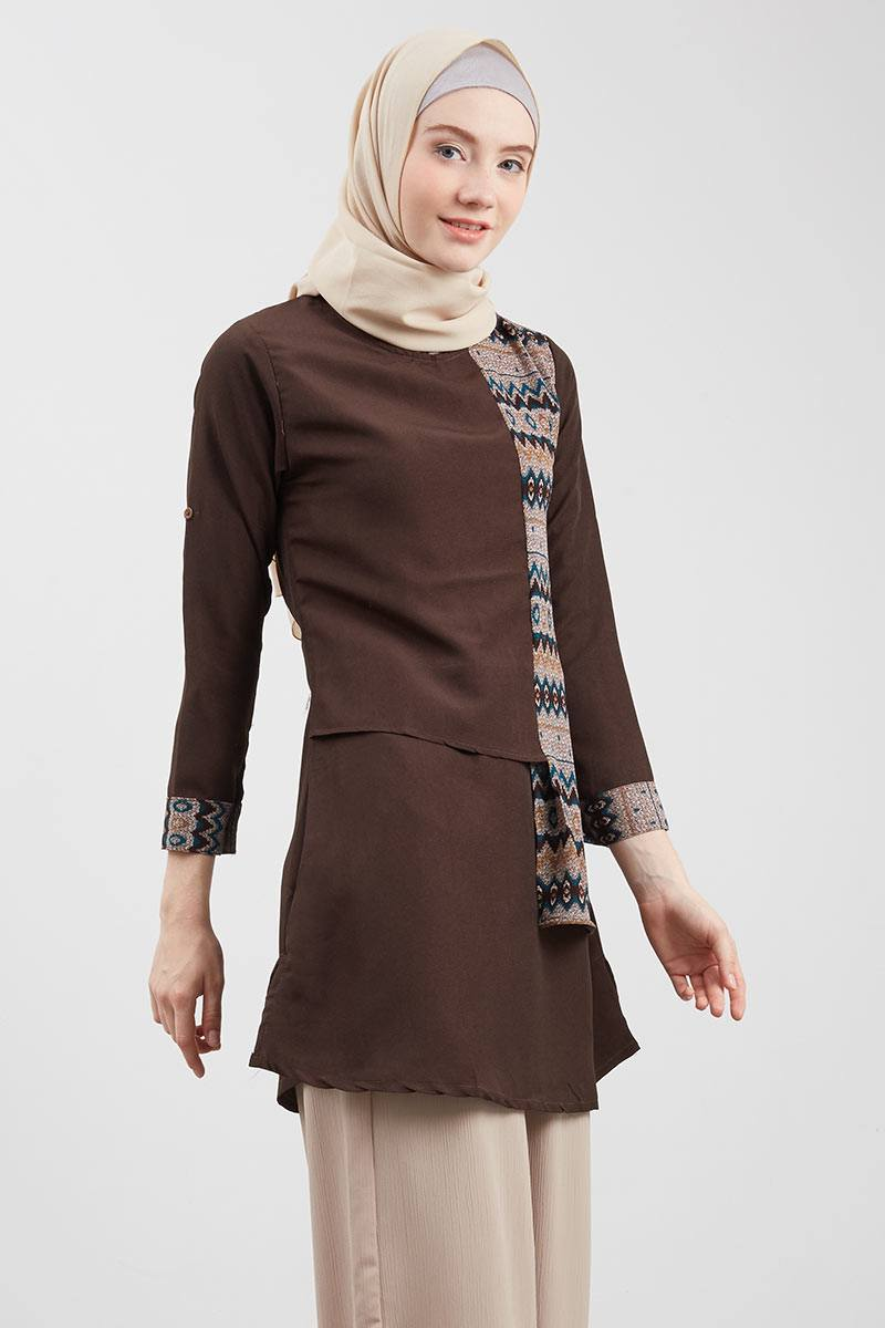 Front Ethnic Tunic Brown