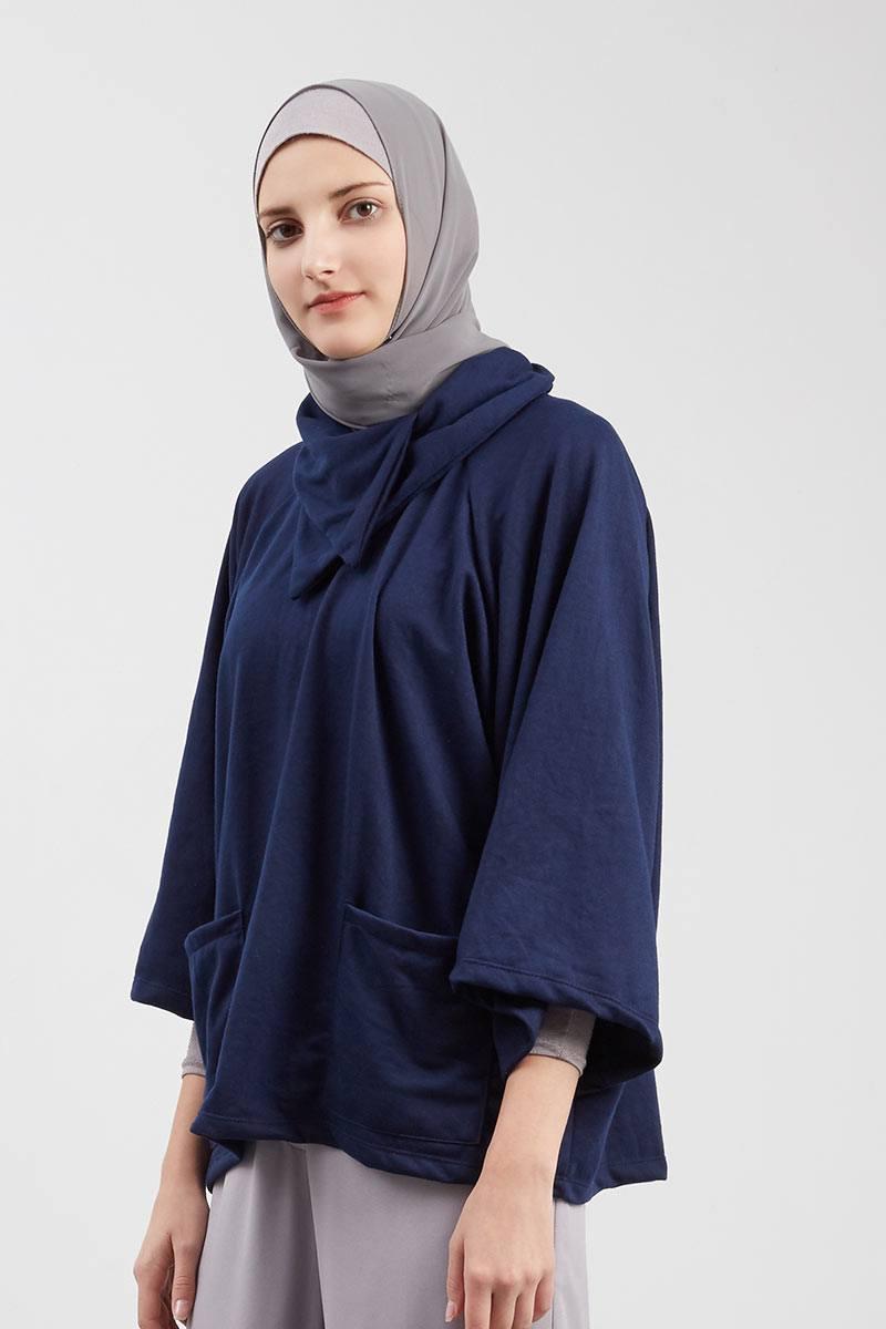 Harga Oversize Blazer Produk Ukm Bumn Jaket Catenzo Fleece Exclusive For Hijabenka Arista Pocket Tops Navy
