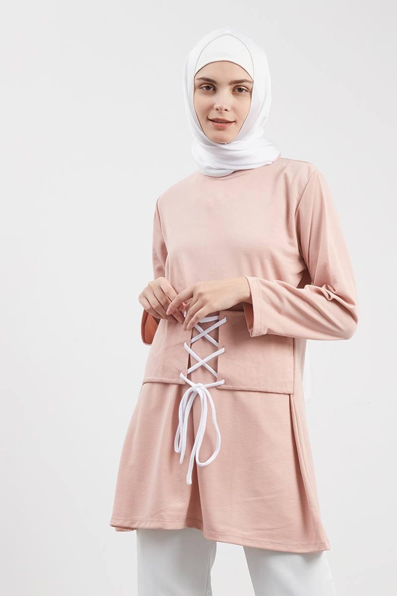 Exlcusive For Hijabenka - Leira Obi Tunik Dusty Pink