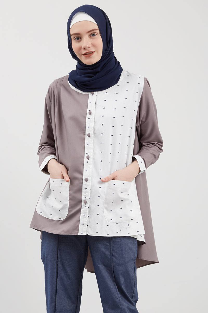 Syaheera Buttonia Tops Grey