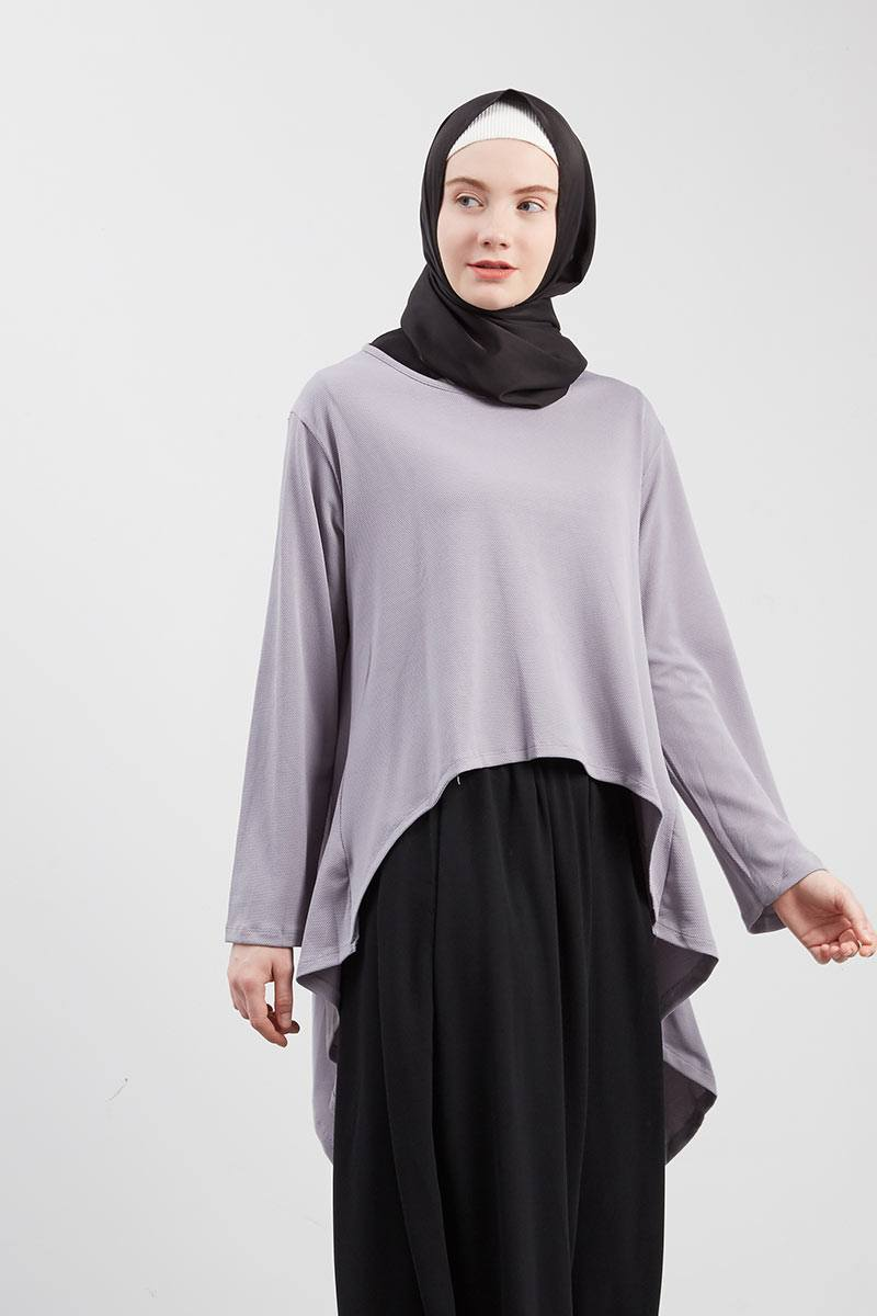 Aminah Asimetris Blouse Grey